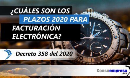 ¿Cuáles son los plazos de facturación electrónica para 2020?